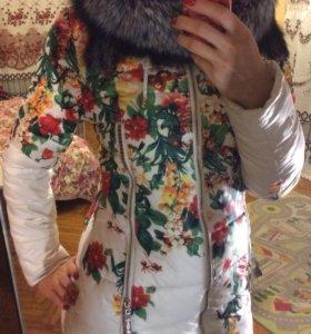 Куртка пуховик зимняя с мехом чернобурки