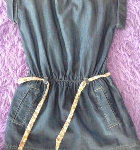 Стильное джинсовое платье 122-128см