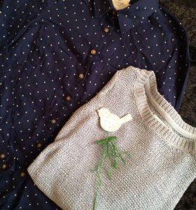 Рубашка синяя в горох H&M