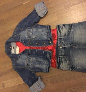 Куртка джинсовая, юбка, футболка пакетом