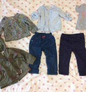 Парка, платье, джинсы, рубашка для девочки 9-12