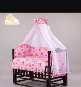 Новый балдахин с бортиками в детскую кроватку