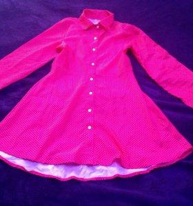 Новое платье красно-розовое