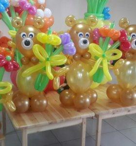 мишки из шаров с цветами Первоиайский