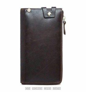 Кожаный клатч портмоне барсетка кошелёк бумажник