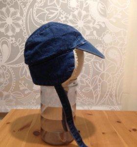 Джинсовая шапочка с ушками на флисе