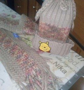 Шапка+шарф детская