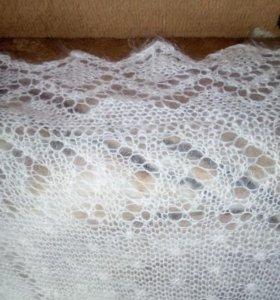 Пуховый платок,белый,теплый