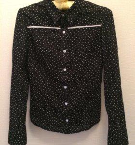 Чёрная хлопковая рубашка в мелкий горошек
