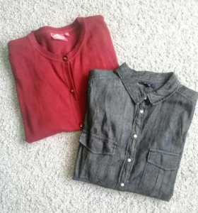 Новая джинсовая рубашка и кардиган
