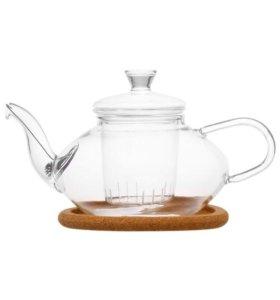 Чайник стеклянный со стеклянным ситом и фильтром