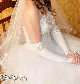 Свадебное платье+ шубка+туфли