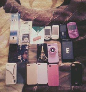 Телефоны, чехлы, селфи палка, батарейка, флешка