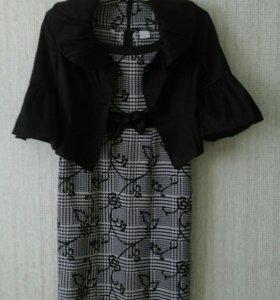 платье черно белое+черный пиджак