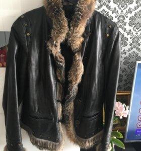 Куртка кожаная с меховой оторочкой и подкладом