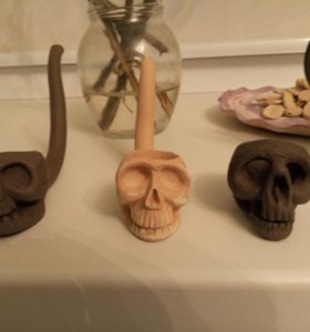 трубка глиняная для табака в форме черепа