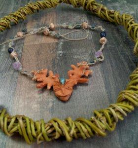 подвеска-колье 《шаман》 с натуральными камнями