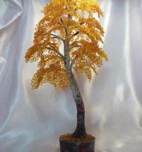 Осенняя берёзка из бисера.