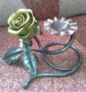 Роза подсвечник ручная работа железная
