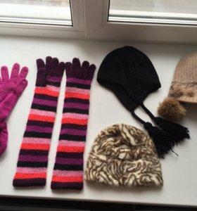 Перчатки шапка вязаные весна