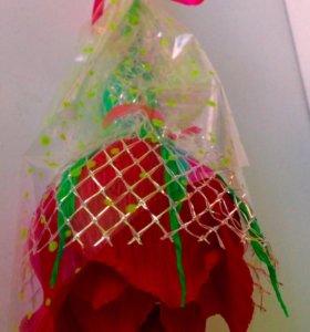 Цветы из конфет, букеты , розочка с конфеткой