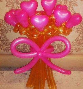 Цветы сердечки из шаров