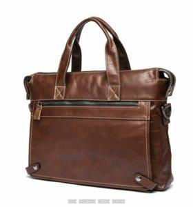 Мужской деловой портфель сумка с ручками натураль