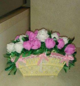 Корзиночки с цветами из фоамирана