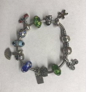 Браслет Pandora 14 шармов + подарок