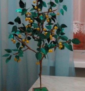 """Дерево из бисера """"Желтая вишня"""""""