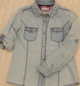 Рубашка джинсовая со стразами