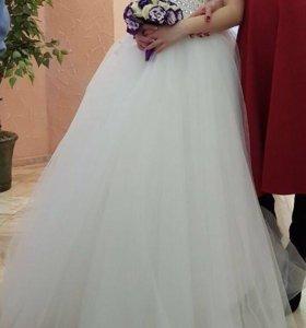 Свадебное платье, шубка, подъюбник