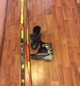 лыжи с креплением, конек 190см, ботинки 43р.