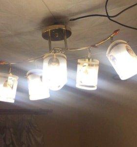 Люстра 5 плафонов(в подарок светодиодные лампочки)