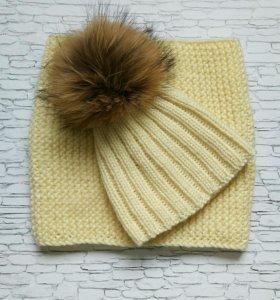 Вязаная шапка и снуд комплект