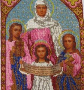 Картины (иконы), корзинки с цветами из бисера