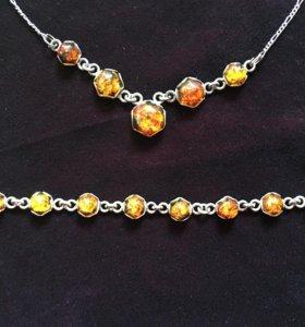 Набор серебряных украшений с янтарем
