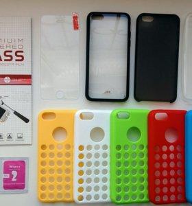 На iphone 5c защитные стекла и чехлы