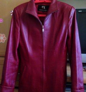 Кожаная куртка бордовая (натуральная кожа)