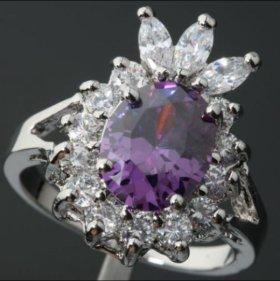 Кольцо женское серебро аметист фианит корона