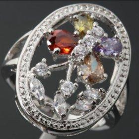 Кольцо женское серебро с камнями фианит циркон