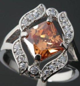 Кольцо женское серебро циркон морганит