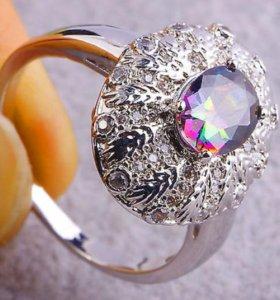 Кольцо женское серебро топаз циркон