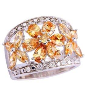 Кольцо женское серебро морганит топаз циркон