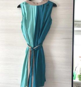 Платье бирюзово -бежевое