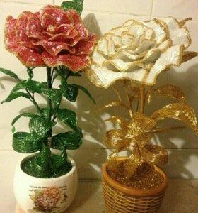 Цветы, деревья, букет невесты из бисера