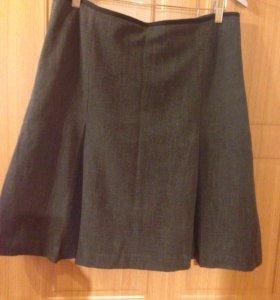 Костюм-тройка: пиджак, юбка, брюки темно-серый