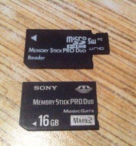 PSP переходник с microSD на memory stick pro duo