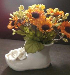 Сувенир сапожок с цветами
