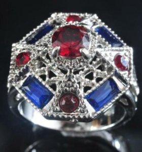 Кольцо женское серебро циркон рубин